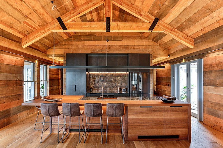 Kitchen with timber roof
