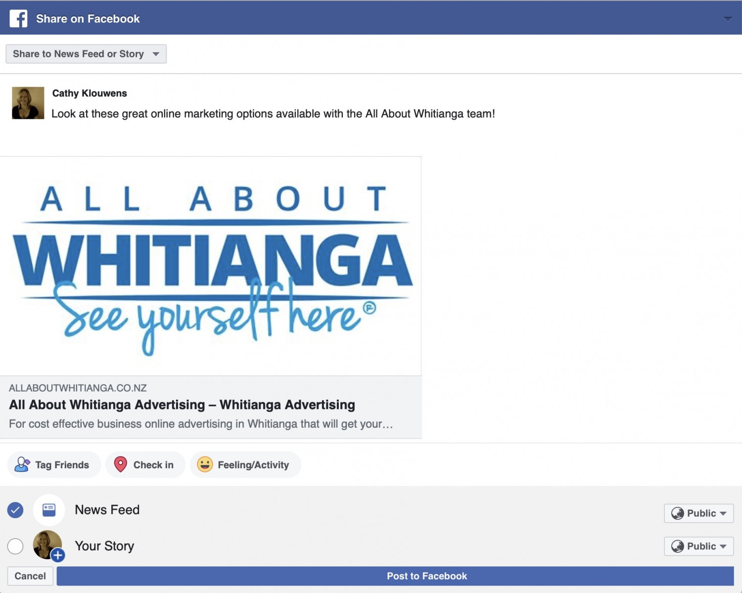 Screenshot from All About Whitianga website