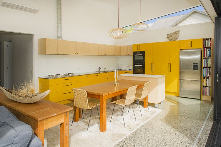Yellow kitchen and table