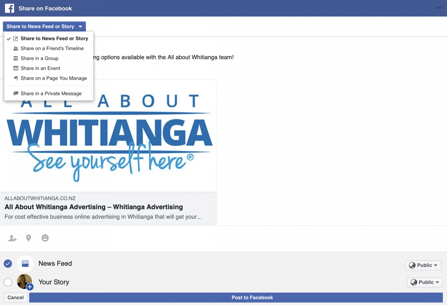 Screenshot of the All About Whitianga website