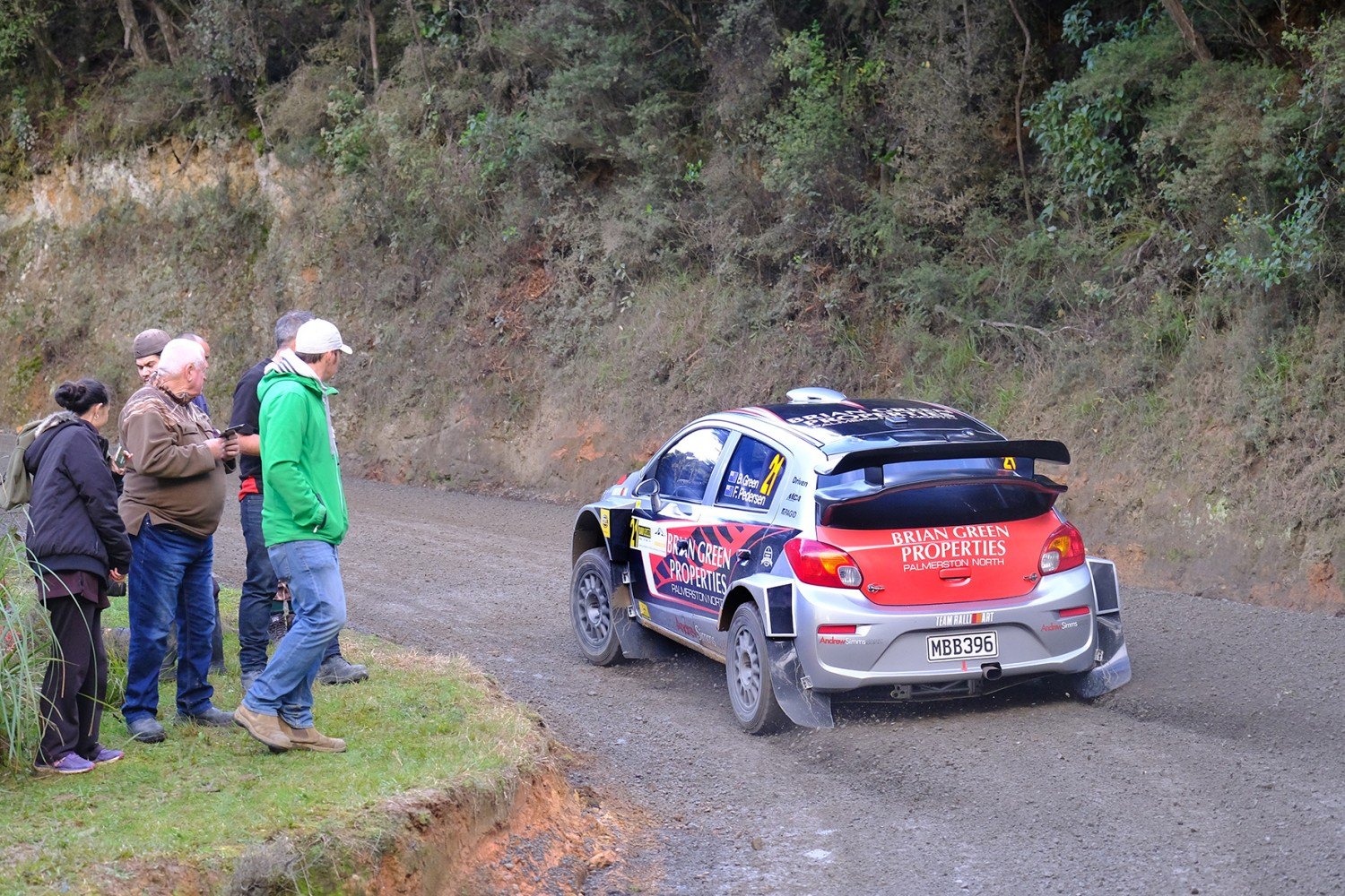 Rally car and spectators