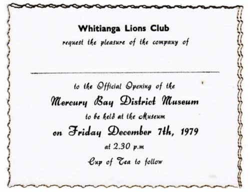 Old invitation card to Mercury Bay District Museum opening