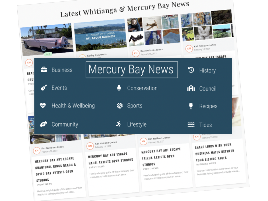 Screen shot of the Mercury Bay News from the All About Whitianga website