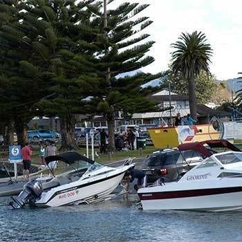 Boat launched at Whitianga boat ramp