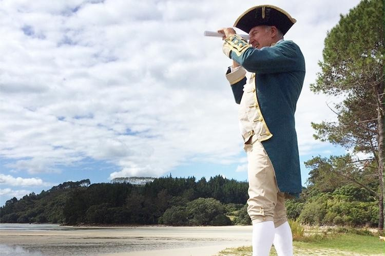 Costumed Actor dressed as James Cook in the Mercury Bay