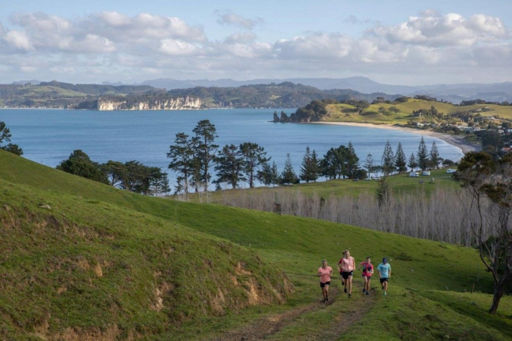 Children running on grass up hill with Mercury Bay sea view behind them