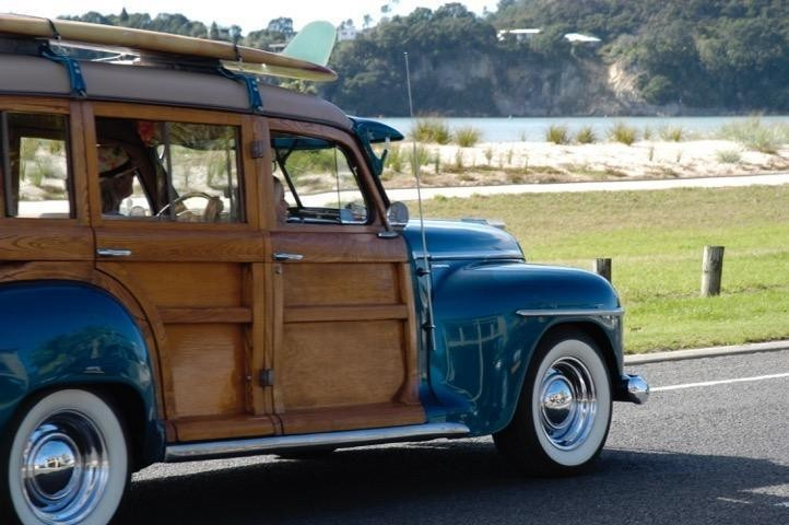 Classic car on Buffalo Beach Road, Whitianga