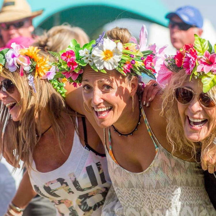 Three woman with flower headbands
