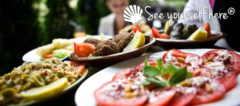 Plates of food with See yourself here logo