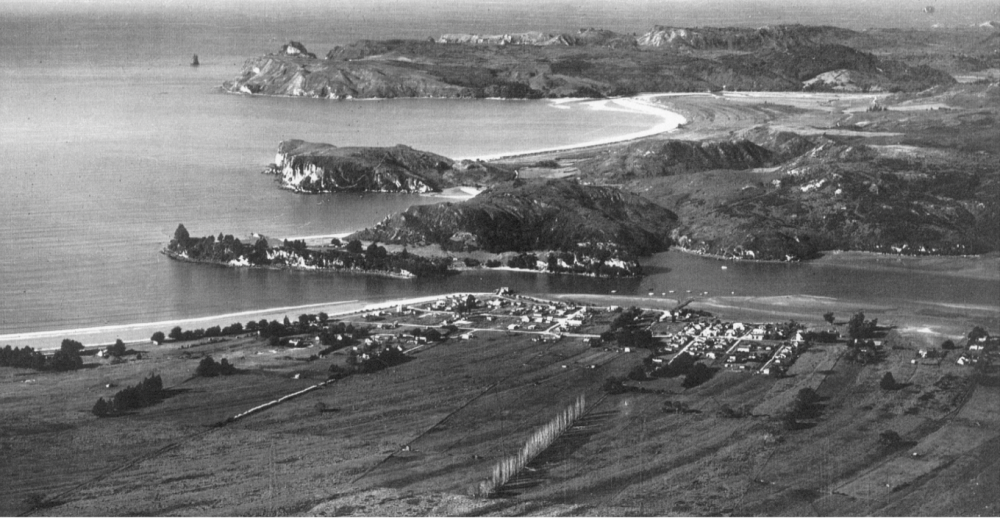 Black and white aerial photograph Mercury Bay showing coastline