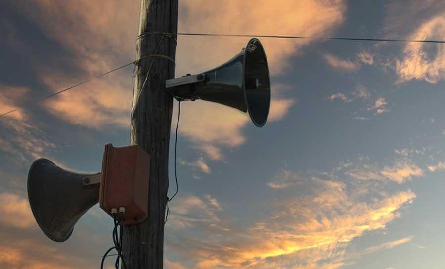 Siren speakers on pole