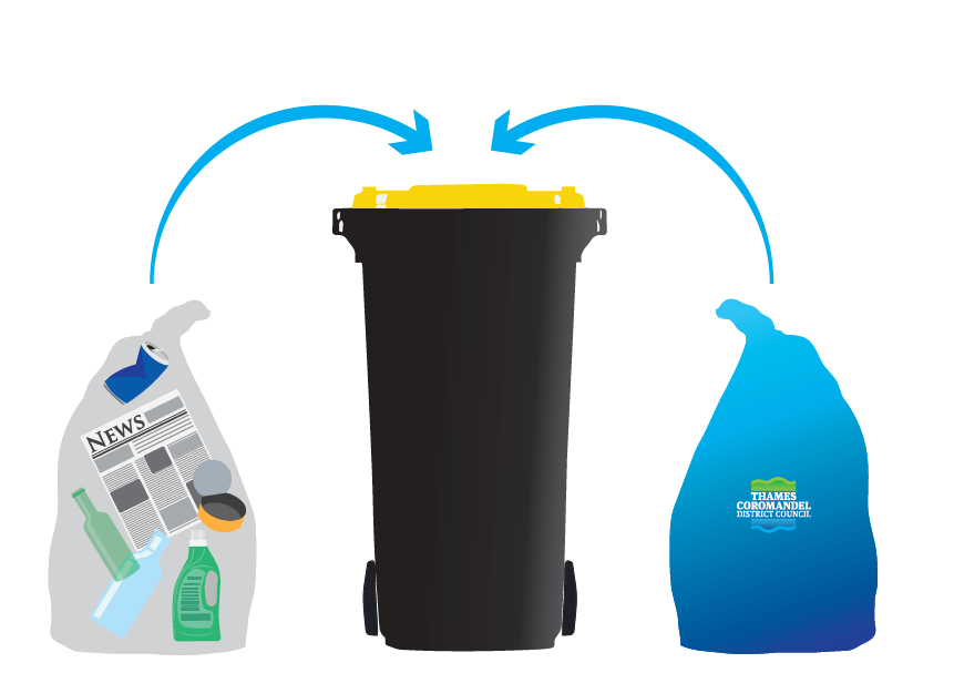 Black and yellow recycle bin with rubbish bags