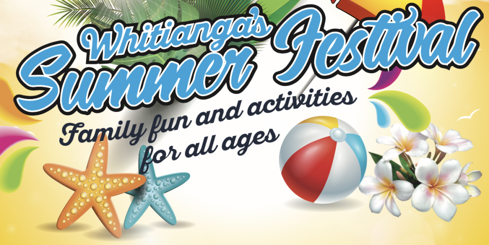 Cartoon title of Whitianga Summer Festival with starfish, beach ball and flowers