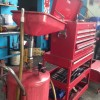 Red tool box and oil tin