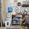 Chair, bookcase and paintings on wall