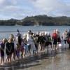 Polar Swim Challenge line up of swimmers  Whitianga