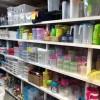 Shelves of plasticware