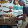 Tim Aldrich wood carving studio Tairua