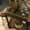 side table with champagne bucket and glasses