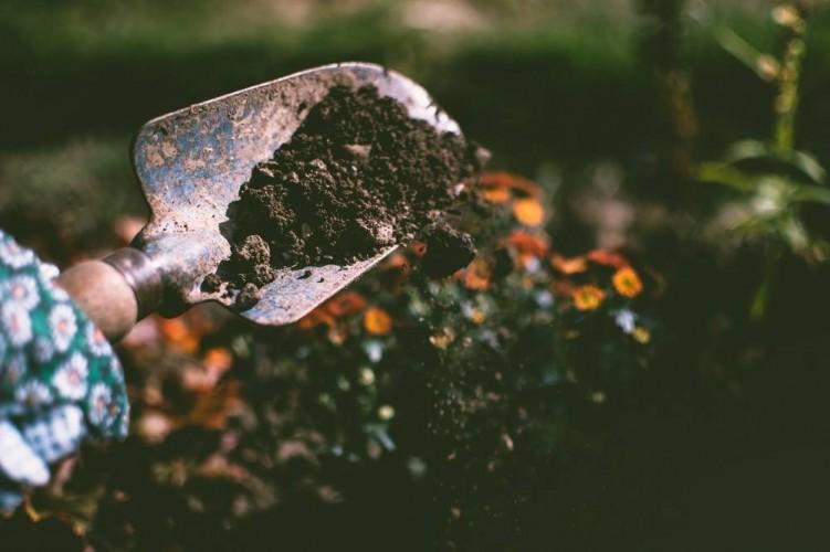 Dirt falling off garden trowel