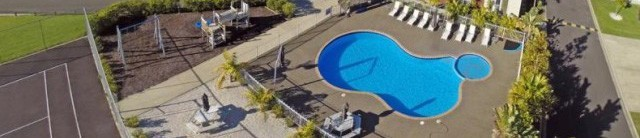 Aerial view Beachside Resort Apartments Whitianga