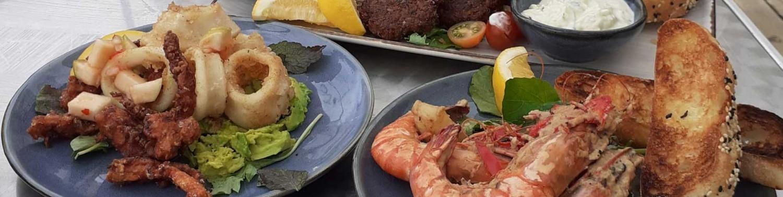 Seafood, squid, prawns and salad