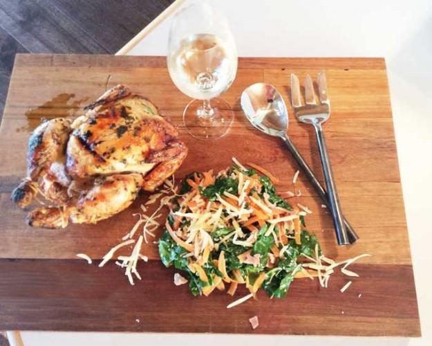 Rotisserie chicken with warm silverbeet salad