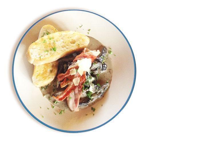 Creamy Parmesan Mushrooms with Bacon on toasted Ciabatta Bread