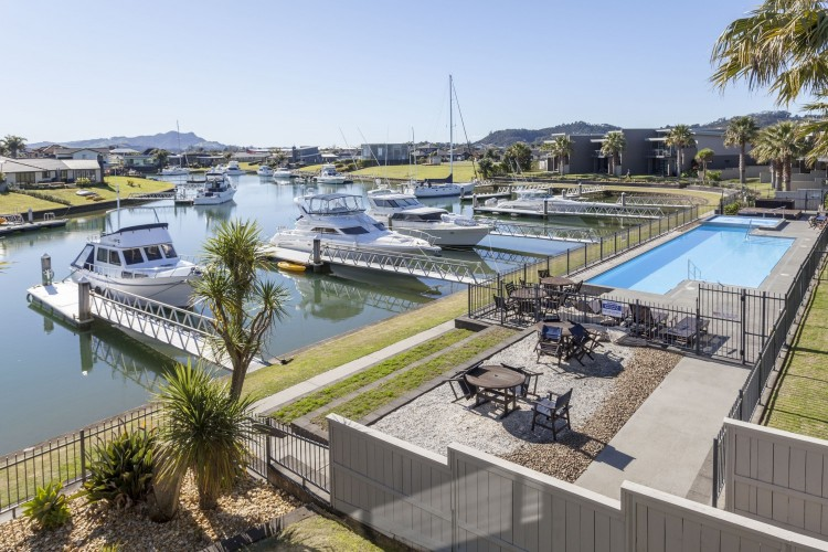 Sovereign Pier on the Whitianga Waterways apartments looking out to the pool area