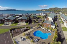 Beachside Resort Apartment complex Whitianga aerial shot