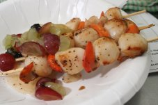 Scallop skewers. Image credit Whitianga Scallop Festival.