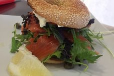Bagel with Salmon delight Cafe Nina Whitianga