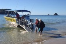 Boarding Cathedral Cove Water Taxi, Hahei, New Zealand