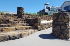 Mark Urlich Stonemason Whitianga stone stairs and stone wall Whitianga Waterways