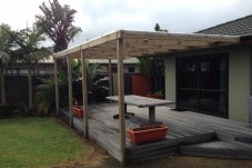 Deck shelter constructed by B-Row Projects Whitianga