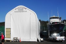 Purpose built movable boat repairs and maintenance shed in Whitianga