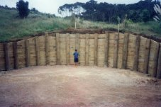 Timber Pole Retaining Wall constructed by Testdrill Whitianga