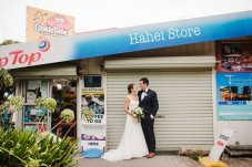 Wedding couple at Hahei Store