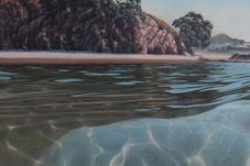 "Submerging ""Beyond the Surface"" exhibition Jacqueline Elley oil paintings and glass works by Lynden Over"