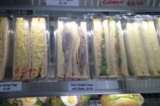 Fresh sandwiches, club sandwiches, rolls and asparagus rolls Bay Bakery