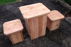 Macrocarpa seats by BROW Projects Whitianga
