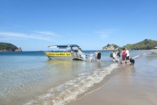 Cathedral Cove Water Taxi board on the beach at Hahei