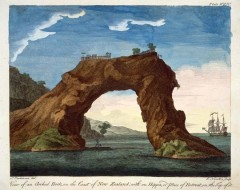 Arched Rock with The Endeavour Captain Cook's Ship 1769