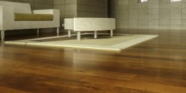 12 year old Kwila refresh - floor sanded then 3 coats of moisture cured urethane gives the floor a warm colour