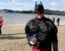 Batman at the Polar Swim Challenge Buffalo Beach Whitianga