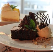 Chocolate brownie at Enigma on The Esplanade