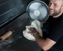 Preparing woodfired pizzas at Lukes Kitchen in Kuaotunu