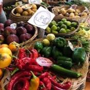 Chillies and vegetables for sale Coroglen Farmers Market Coromandel Peninsula
