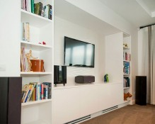 Dimax Kitchens & Interiors - media room and display shelves Whitianga joinery