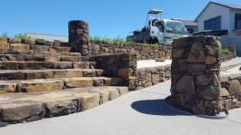 Mark Urlich Stonemason Whitianga stone stairs and stone wall Whitianga Waterways